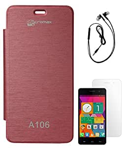 DMG Hot Pressed Durable Leather Flip Cover for Micromax Unite 2 A106 (Maroon) + Black Earphones + Matte Screen