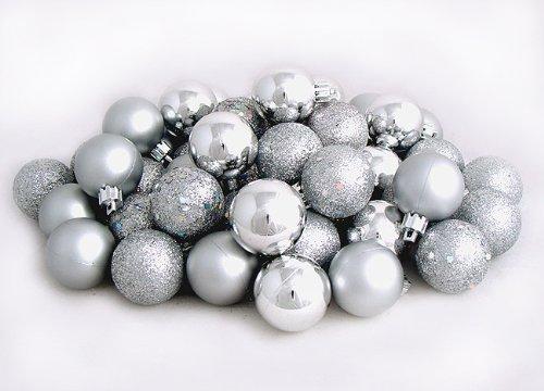 60ct Silver Splendor Shatterproof 4-Finish Christmas Ball Ornaments 2.5″ (60mm)