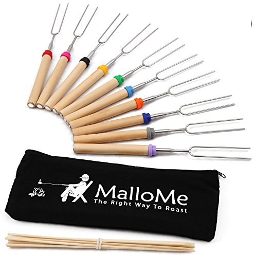 MalloMe Marshmallow Roasting Sticks Set of 10 Telescoping Rotating Smores Skewers & Hot Dog Fork 30 Inch Kids Camping Campfire Fire Pit Accessories | FREE Pouch, 10 Bamboo & Marshmallow Sticks Ebook (Fire Roasting compare prices)