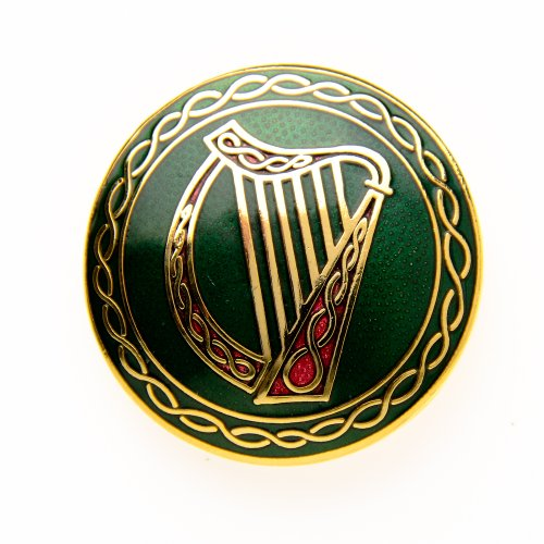 Sea Gems Round Celtic Harp Brooch