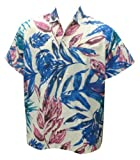 La Leela White Blue Leaf Printed Cotton Hawaiian Shirt For Men M