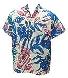 La Leela White Blue Leaf Printed Cotton Hawaiian Shirt For Men M