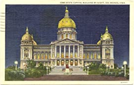 1950s Vintage Postcard - State Capitol Building at Night - Des Moines Iowa