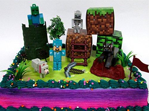MINECRAFT 14 Piece Birthday CAKE Topper Set Featuring ...