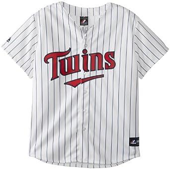 MLB Minnesota Twins Justin Morneau Replica Baseball Ladies Jersey, White Navy by Majestic