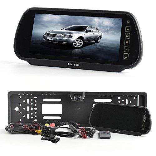 HSRpro-DUAL-Wasserdichter-2x-Rckfahrkamera-fr-VORNE-HNTEN-1-Kamera-ist-mit-KENNZEICHEN-Halter-mit-Nachtsicht-und-Spiegel-Monitor-fr-Auto-KFZ-PKW-Klein-Bus-Kamera-Car-Camera