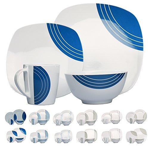 Camping vasellame di melamina per 4 persone 16 pezzi, lavabile in lavastoviglie || picnic piatti stoviglie Camping tavola