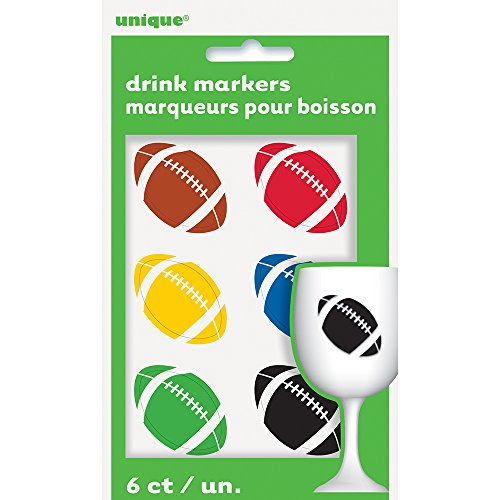 Football Beverage Cling Drink Markers, Assorted 6ct (Football Clings compare prices)