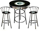 Green Bay Packers Logo Themed 3 Piece Chrome Metal Finish Bar Table Set with 2 Swivel Seat Packers Logo Themed Bar Stools