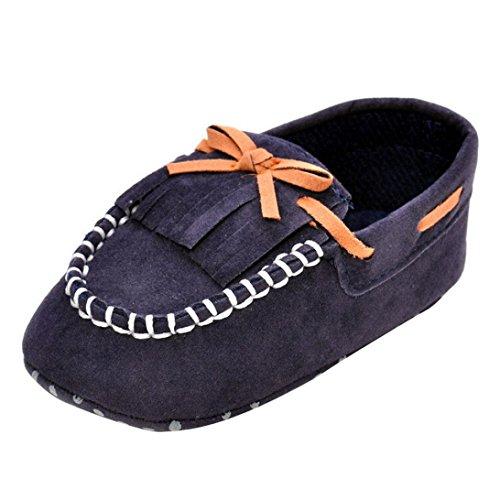 Kingko® Scarpe Neonato Bambino Bambini nappa Prewalker Shoes bowknot suola infantile delicatamente (6~12 mesi, Marina Militare)