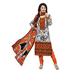 Rajnandini Women's Ethnic Wear Orange Pure cotton Printed Unstitched salwar suit Dress Material (Free Size)