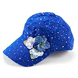 Glitzy Game Flower Sequin Trim Baseball Cap (Royal Blue with Flowers)