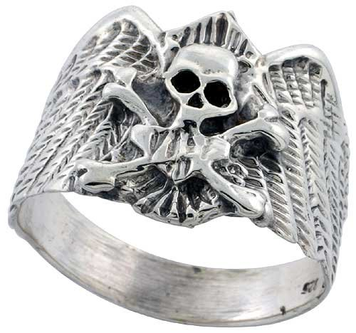 Sterling Silver Skull & Crossbones Gothic Biker Ring 3/4 inch wide, size 14