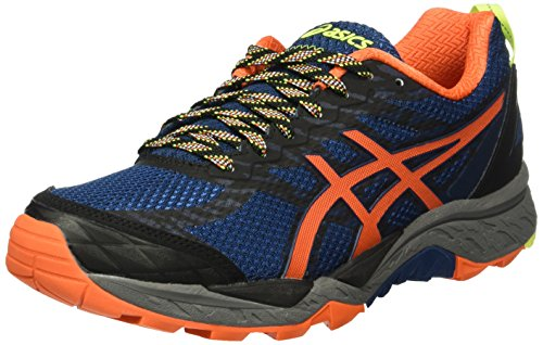 Asics Gel-Fuji Trabuco 5, Scarpe da Trail Running Uomo, Multicolore (Poseidon/Flame Orange/Safety Yellow), 47 EU