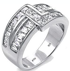 Mens Ring- 925 Sterling Silver with Simulated Dimonds Affortable Luxury Wedding Engagement Jewelry Unique Band Ring -Size Z2