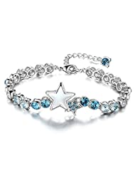 Genuine Swarovski Elements Blue Star Luxury Bracelet For Women By Via Mazzini