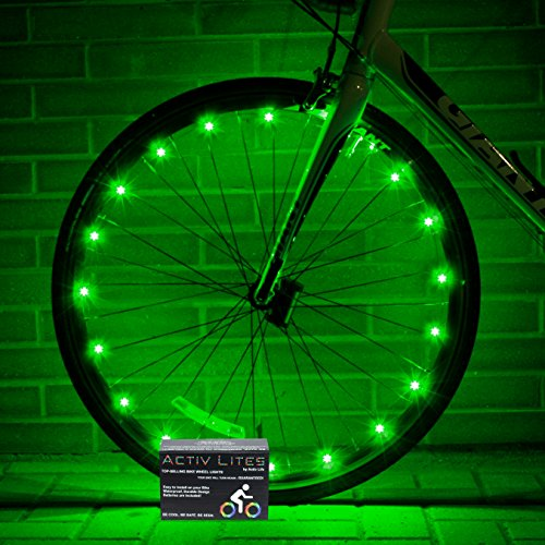 Super Cool Green LED Bike Wheel Lights - Get Bright Bicycle Rims & Spokes to Be Safe & Seen - Best Tail & Headlight Accessories - Fast Easy Install - Batteries Included - 100% (Activ Energy Battery compare prices)
