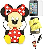 Bukit Cell ® 3D Disney Case Bundle - 5 items: RED 3D Cute Minnie Mouse Soft Silicone Case Cover for iPod Touch 4 4G 4th Generation + BUKIT CELL Trademark Lint Cleaning Cloth + Minnie Figure Anti Dust Plug Stylus Touch Pen + Screen Protector + METALLIC Stylus Touch Pen with Anti Dust Plug