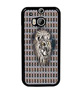 PrintDhaba Metallic Lion Face D-5068 Back Case Cover for HTC ONE M8 (Multi-Coloured)