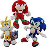 Sonic the Hedgehog Plush 8.2 Inch / 20cm Sonic Tails Knuckles 3pcs Doll Stuffed Animals Figure Soft Anime Collection Toy (Color: As picture)