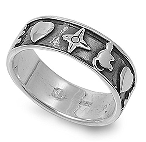 Sterling Silver Woman'S North Star Heart Good Luck Ring Fashion Comfort 925 Band Size 10 Valentines Day Gift