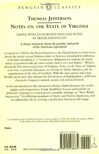 notes of the state of virginia The massachusetts historical society owns a remarkable document in thomas jefferson's own handwriting, the text of his only full-length book, notes on the state of virginia.