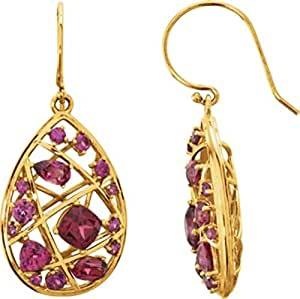 35.6x16.1mm Rhodolite Garnet Nest-Design Dangle Earrings in 14k Yellow Gold