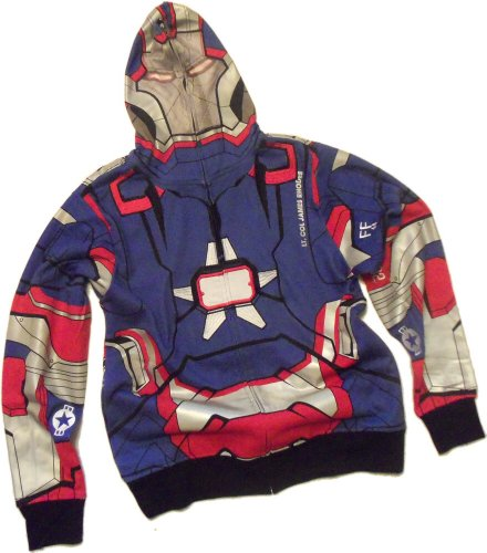 Iron Patriot Costume -- Iron Man 3 Movie Hoodie Zipper-Fleece Sweatshirt