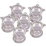 Shreeng Silver Plated Set Of 6 Standing Star Deepak 6 Pcs.