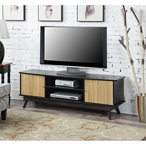 Convenience Concepts Designs-2-Go Key Largo TV Stand, Light Oak/Espresso (Mid Century Tv Stand compare prices)