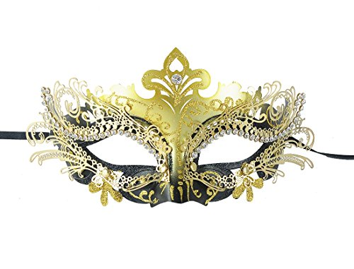 Black Gold Metal Half Face Mask Cosplay Foxmask Masquerade Party Mask