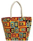 Neska Moda Swachh Bharat Women's Geometric Mobile Design Yellow Jute Bag Shoulder Bag-B110