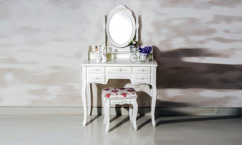 Beautiful White Label Cleopatra Vintage Vanity Table (7 Drawer) 2
