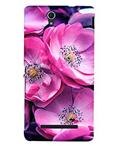 Fuson 3D Printed Flower Designer back case cover for Sony Xperia C3 - D4499