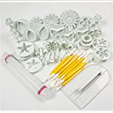 HOSL Cake Tools 14 sets (46pcs) Flower Fondant Cake Sugarcraft Decorating Kit Cookie Mould Icing Plunger Cutter Tool