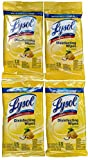 Lysol 4-Pack Disinfecting Lemon Scented 15-Wipes, Travel size Bundle with Hand Sanitizer