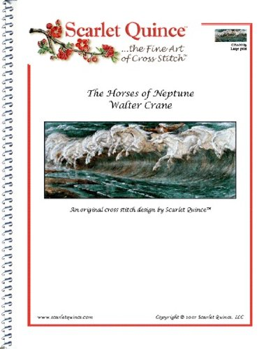 Scarlet Quince CRA001lg The Horses of Neptune by Walter Crane Counted Cross Stitch Chart, Large Size Symbols (Horse Cross Stitch Charts compare prices)