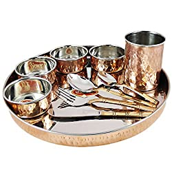 RoyaltyLane Tableware Set, Service for 8, Copper Stainless Steel Dinner Plate, Bowls, Water Glass and Cutlery Set.