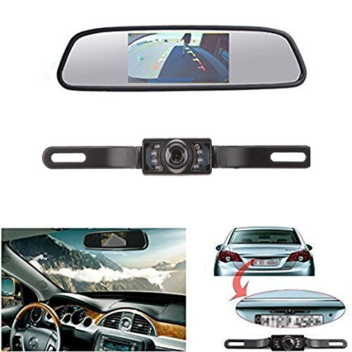 LeeKooLuu CMOS Reverse/Rear View Camera and Monitor Kit for Car With 7 LED Night Vision (Camera Car Reverse compare prices)