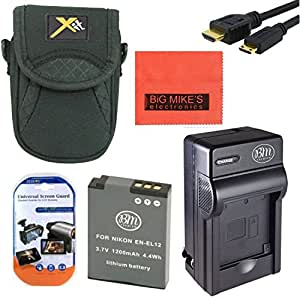 Starter Accessory Kit for Nikon Coolpix AW120 P340 S9500 S9700 Digital Camera - Includes ENEL12 Battery & Charger + Deluxe Carrying Case + Micro HDMI + More!!