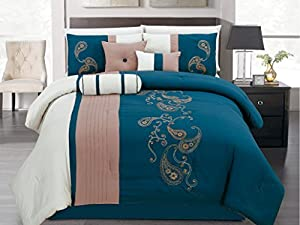 7 Pieces Luxury Blue, Beige, White, Embroidered Comforter Set / Bed-in-a-bag King Size Bedding