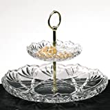Walther Glass Saturn 2 Tier Server, 9-3/4-Inch