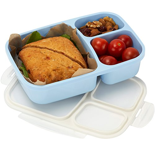 Leakproof, 3 Compartment, Bento Lunch Box, Airtight Food Storage Container - Blue (Lunch Containers For Toddlers compare prices)