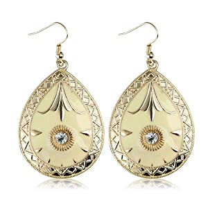 Teardrop Gold and Yellow Vintage Earrings - Women's Fashion Earrings - Includes stunning gift bag - Ideal jewellery present.
