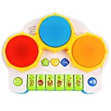 2 In 1 Beat & Play Battery Operated Colorful Hand Drum And Piano Musical Toy With Drum Lights And Melodious Songs...