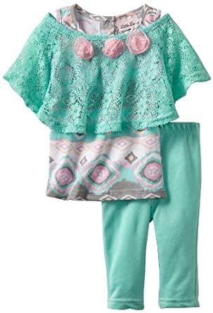 Little Lass Baby-Girls Infant 3 Piece Crochet Set with Roses, Turquoise, 18 Months