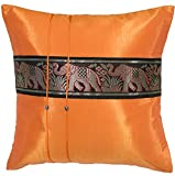 Avarada Striped Elephant Throw Pillow Cover Decorative Sofa Couch Cushion Cover Zippered 16x16 Inch (40x40 cm) Orange