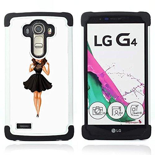 LG G4 H815 H810 H811 LS991 LS986 US991 H815 U812 - 3 in 1 Colorful Heavy Duty Stampato in PC Soft silicone nero della copertura gel della cassa Jacket (Moda para niños Señora Dulce Mujer Linda)