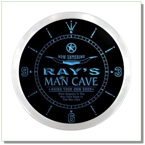 ncpb0132-b RAY'S Man Cave Cowboys Beer Bar Pub LED Neon Sign Wall Clock