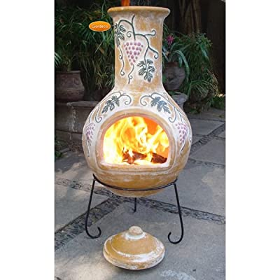 Extra Large Yellow 125cm Outdoor Clay Chimenea With Beautiful Grapes Design